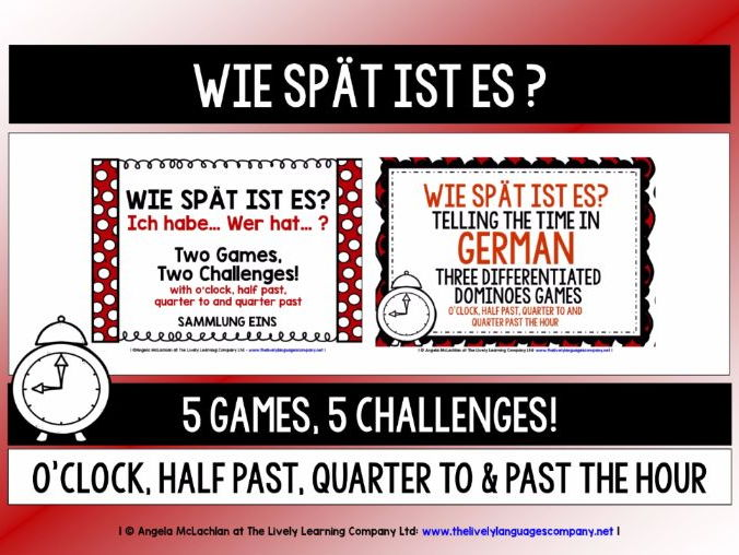 GERMAN TELLING THE TIME (1) - FIVE GAMES & CHALLENGES PACK