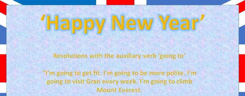 'Going to' Auxiliary Verb with New Year Resolutions A2 presentation and activity