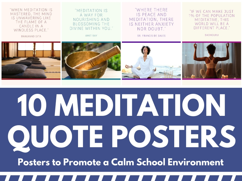 10 Meditation Quote Posters for School Hallways or Exercise Studios