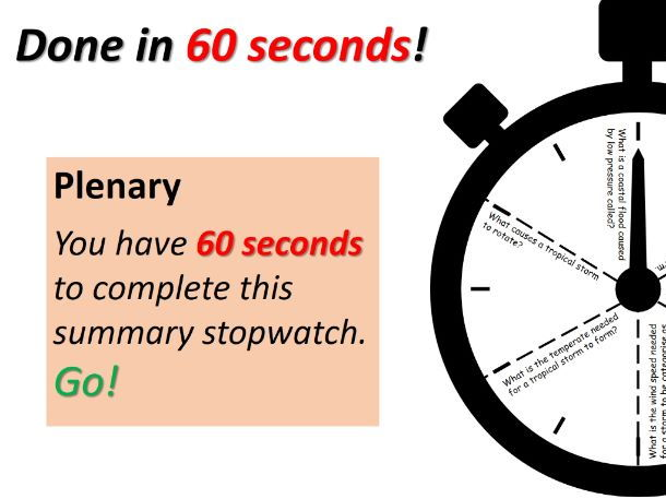 Plenary Stopwatch: Done in 60 seconds
