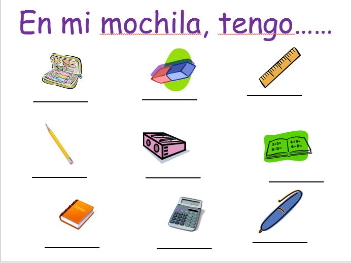 Y7 Sp - pencil case items & colours (En mi mochila)