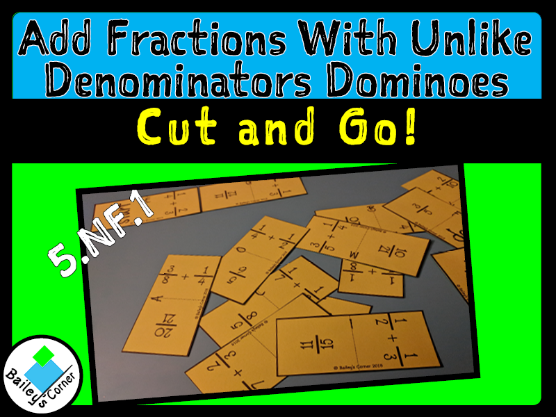 Add Fractions with Unlike Denominators Dominoes