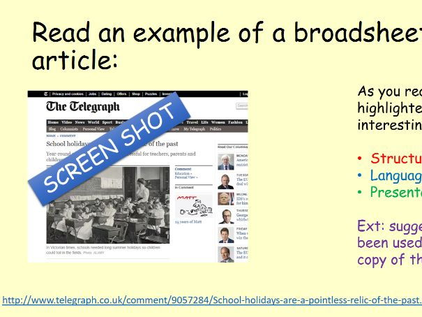 GCSE Broadsheet Article Writing Task