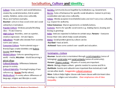 Socialisation, Culture and Identity Sociology Revision Posters - Unit 1