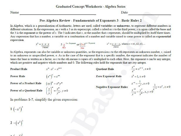 Basic Algebra Worksheet 8 - Pre-Alg. Rev. - Fundamentals of Exponents 3 - Basic Rules 2