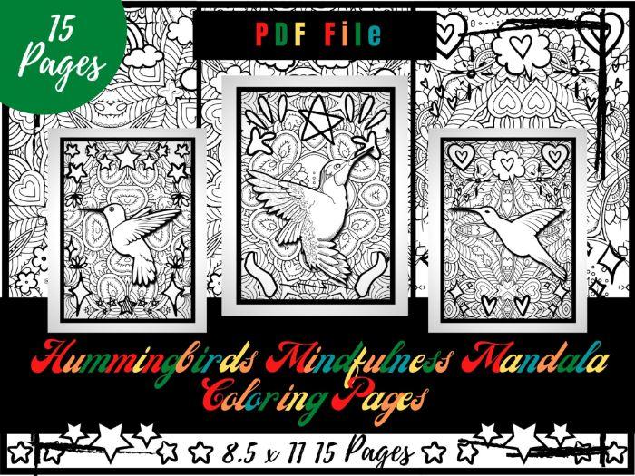 Hummingbirds Mindfulness Mandala Colouring Pages, Printable Birds Colouring Sheets