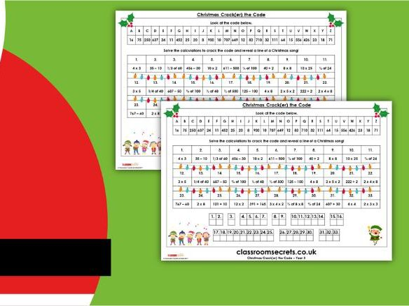 Christmas Year 3 Crack(er) the Code Activity