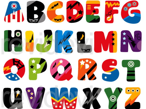 Superhero Alphabet Clip Art Graphics