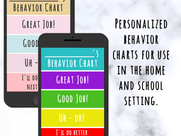 Smartphone Behavior Chart BUNDLE (Pastel and Bold Colors)