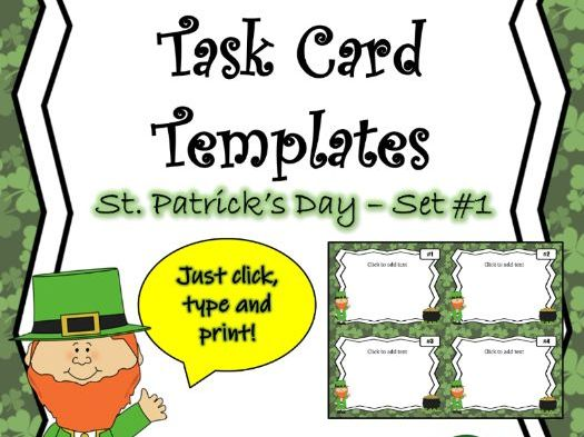 EDITABLE Task Card Templates - St. Patrick's Day - Set 1 - Commercial and Personal Use