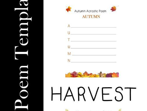 Autumn & Harvest Acrostic Poem Template