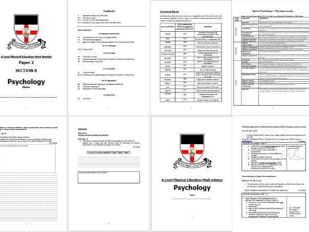 2016 Spec- A Level PE- Psychology- Exam Q's & Mark scheme booklet