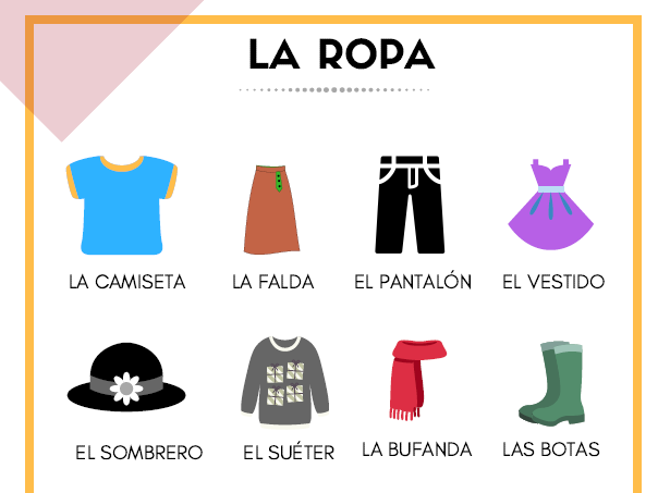PRINTABLE PUZZLES - SPANISH CLOTHES VOCABULARY