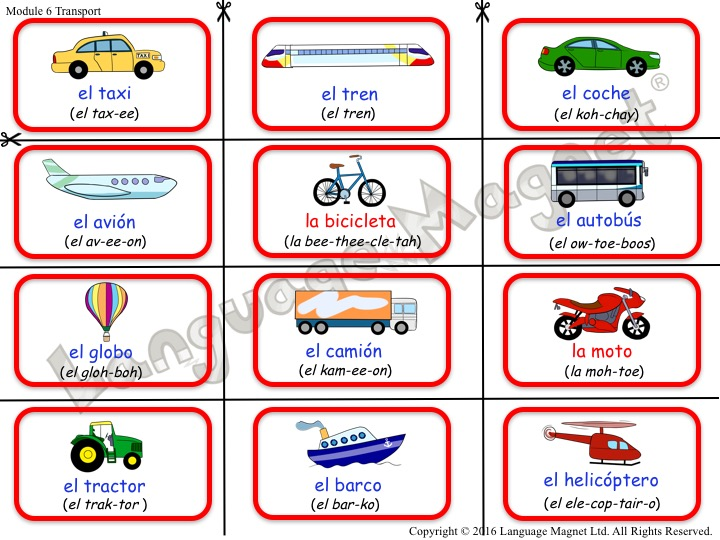 Spanish Transport Bingo