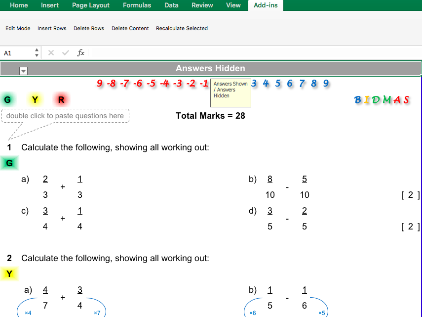 Adding and Subtracting Fractions Differentiated Worksheet
