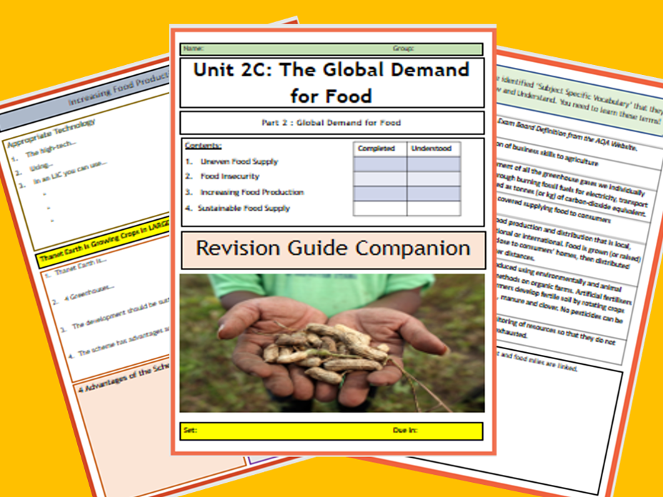 GCSE AQA 9-1 : 2C Resource Management- Food - Flipped Learning Revision Guide Companion.