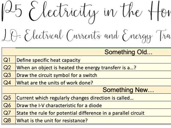AQA Electrical Currents and Energy Transfer (Trilogy/Triple)