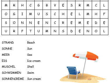 At the beach German wordsearch