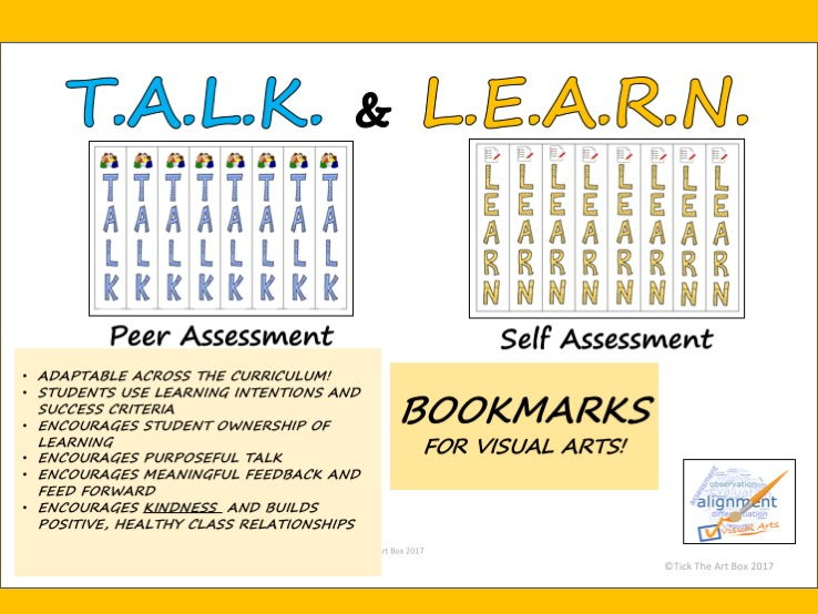 T.A.L.K and L.E.A.R.N. Peer and Self Assessment Bookmark Mnemonics