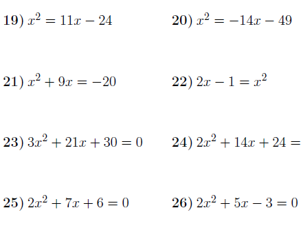 Solving quadratic equations by factorising 2 worksheet (with solutions)
