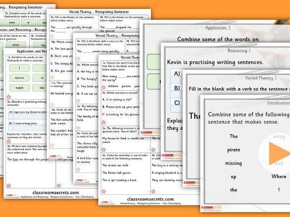 Grammar Year 2 Recognising Sentences Autumn Block 1 Step 4 Lesson Pack