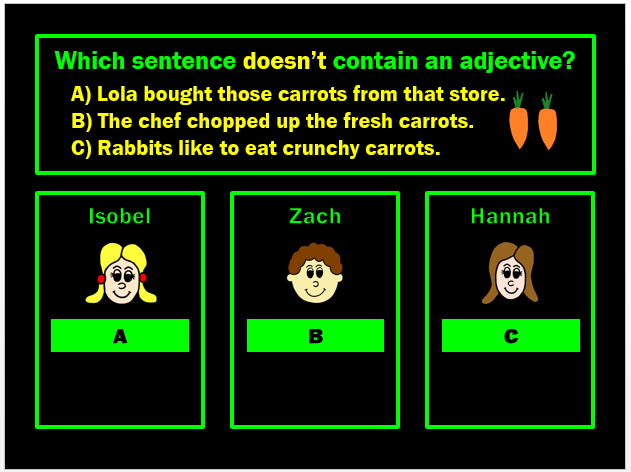 Adjectives, Nouns and Verbs Powerpoint Game by Grammatickx