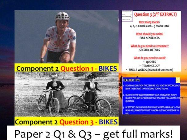 EDUQAS GCSE English Language Paper 2 Question 1 & 3 PPoint +  podcast (BIKES - 19th & 21st century)