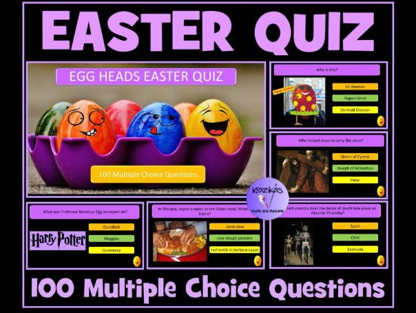Easter Eggheads Mega 100 Question Interactive PowerPoint Easter Quiz