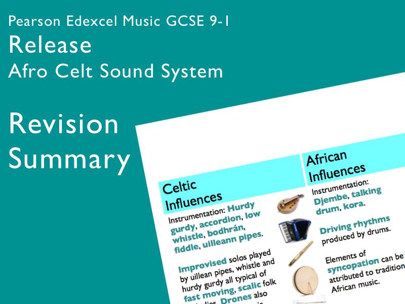 Release - Afro Celt Sound System | Edexcel Pearson GCSE Music 9-1 | Knowledge Organiser / Revision