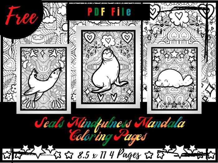 FREE Seals Mindfulness Mandala Coloring Pages, Animals Coloring Printable Sheets