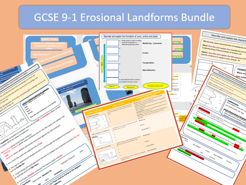 GCSE 9-1 Coasts: Erosional Landforms Bundle