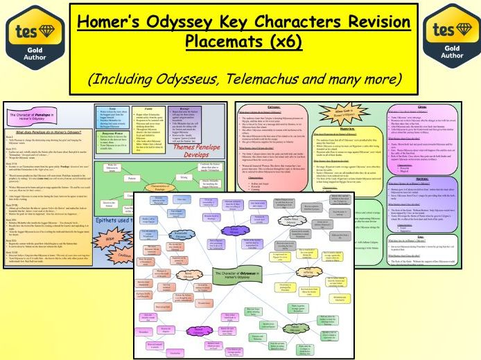 Homer's Odyssey Key Characters Revision Placemats (x6)