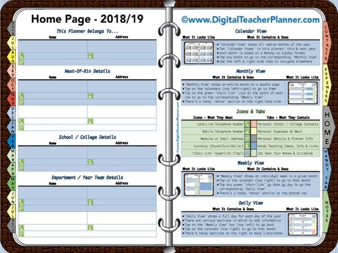 Digital Teacher Planner - 2018/19 Academic Year (Interactive)