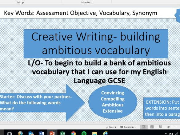 Creative writing vocab builder and Writing prompt lessons AQA Language Paper 1 A05 AO6