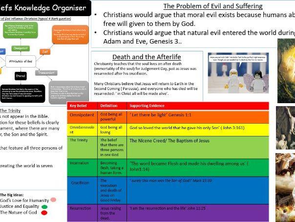 GCSE Aqa A Christian Beliefs Whole Unit of Work + Knowledge Organiser