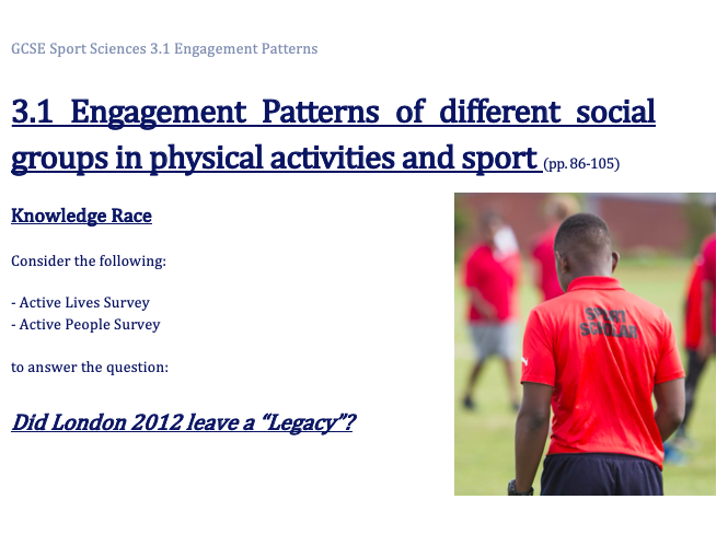 OCR GCSE P.E. (9-1)  - 3.1 Engagement Patterns in Physical Activity and Sport WORK BOOKLET