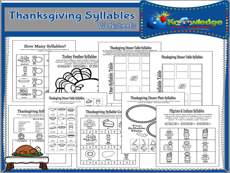 Thanksgiving Syllables Clip Cards