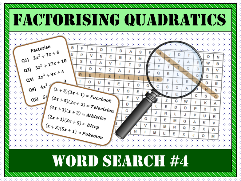 ✏️ Factorising Quadratics Word Search #4 🔎