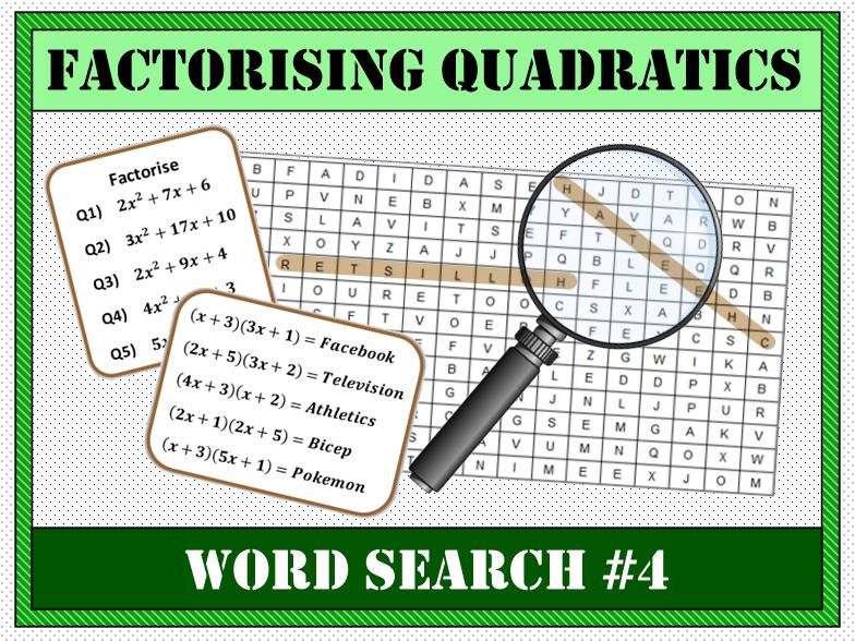 Factorising Quadratics Word Search #4