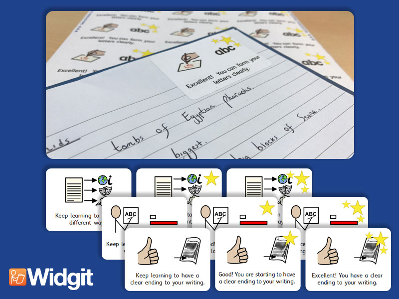 Writing  Marking Stickers - Bundle with Widgit Symbols