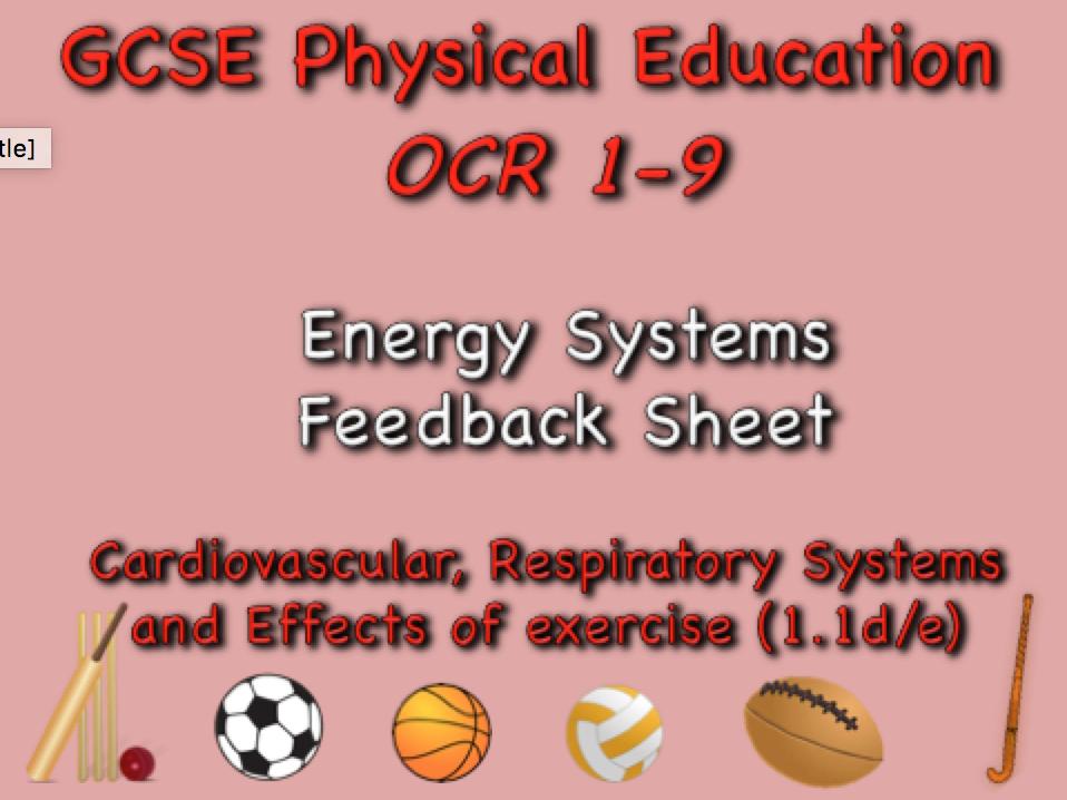 GCSE OCR PE (1.1d/e)  energy systems feedback sheet