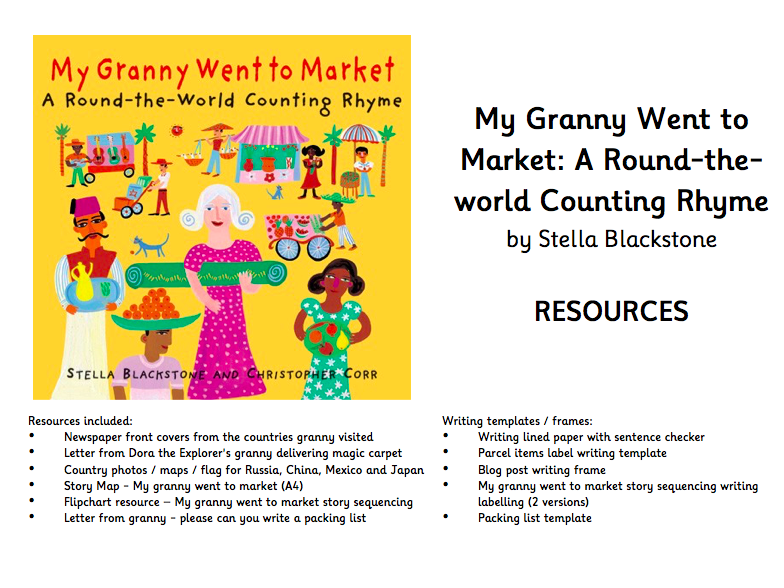 My Granny Went to Market Resources - including story map, writing templates, letters from granny