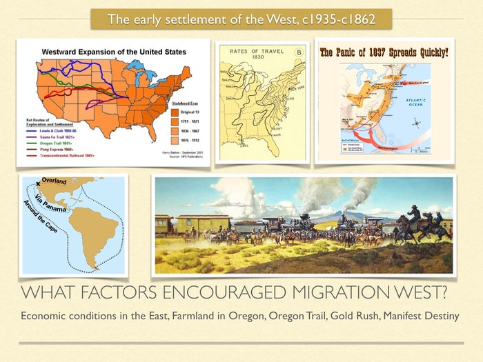 GCSE History of American West in 19th Cent. What factors encouraged migration West. Oregon Trail.