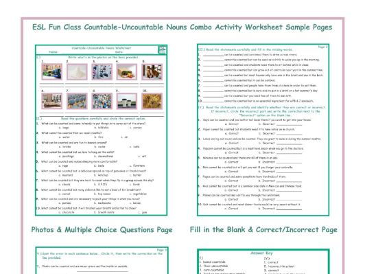 Countable-Uncountable Nouns Combo Activity Worksheet