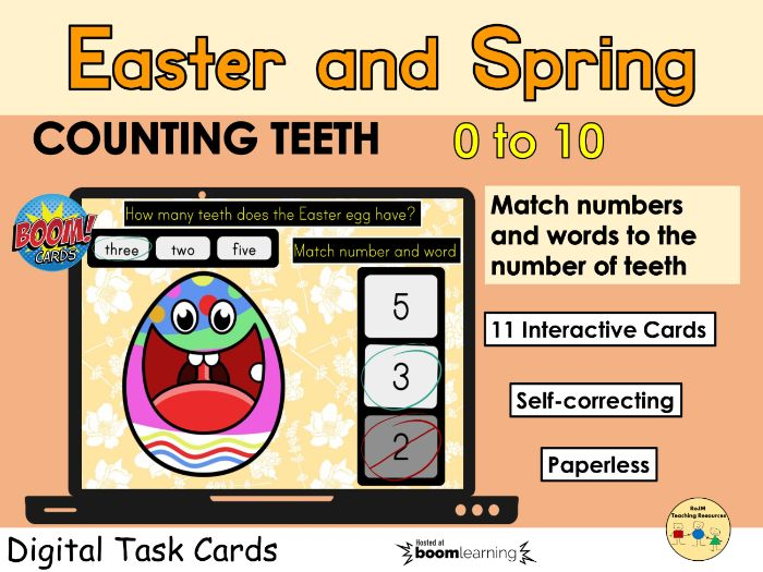 Counting 0 to 10 Easter Egg Teeth Spring BOOM Cards™ Distance Home Learning
