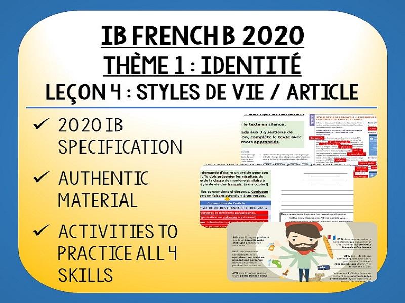 IB FRENCH B 2020 - Identité L4 - Styles de vie / Format Article