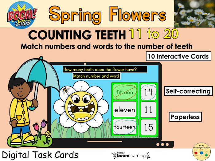 Counting 11 to 20 Flowers Teeth Spring BOOM Cards Distance Learning