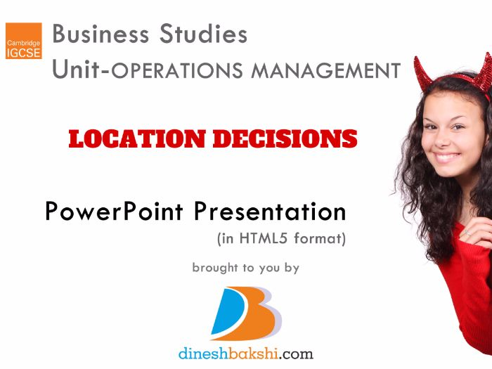 Location Decisions - IGCSE Business Studies