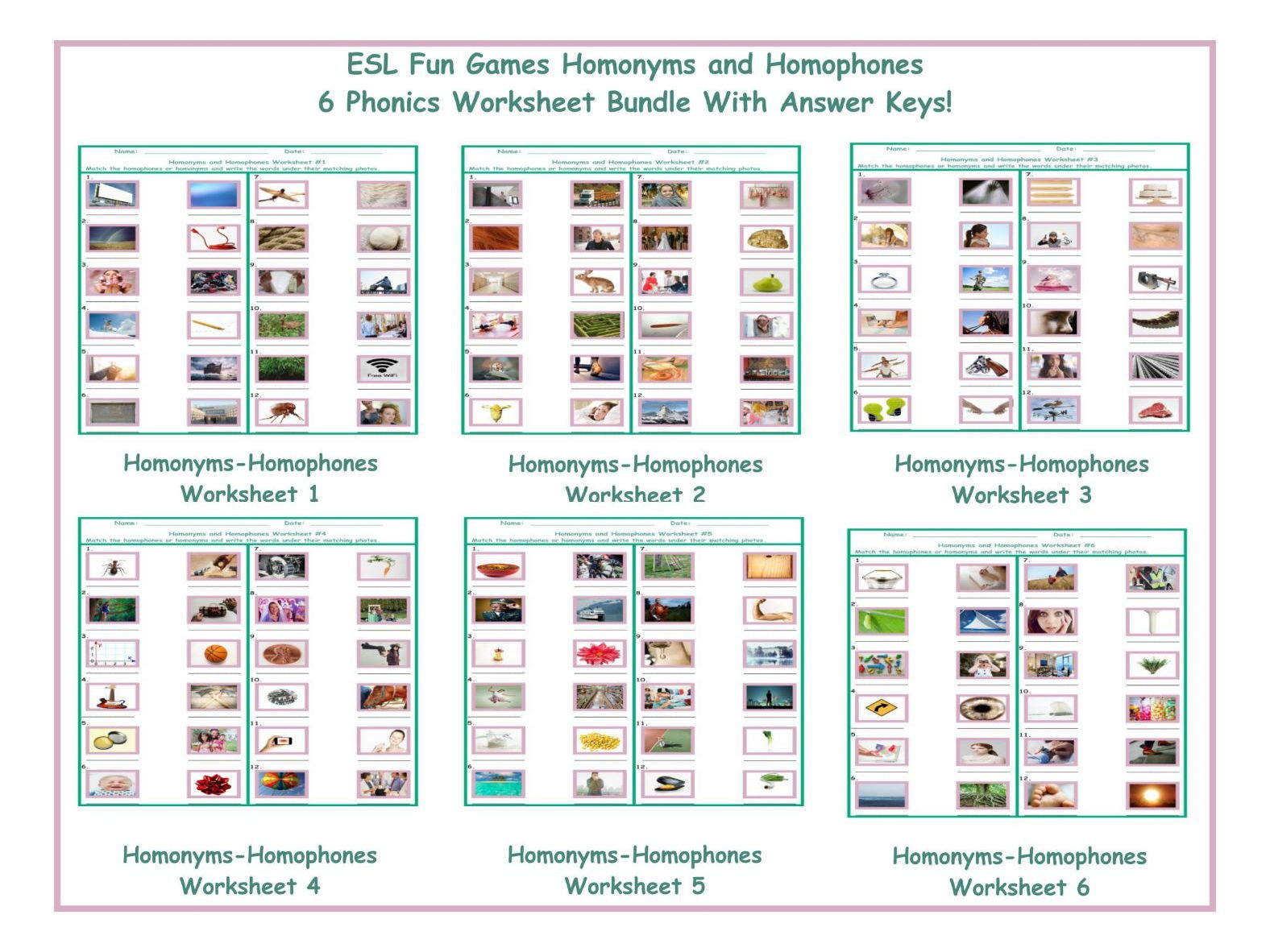HomonymsHomophones Worksheet 4 by eslfungames Teaching – Homophones Worksheet Pdf