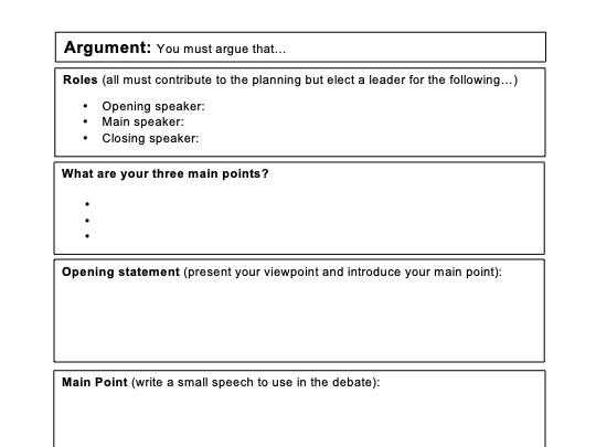 Debate Planning Sheet - KS3/4/5